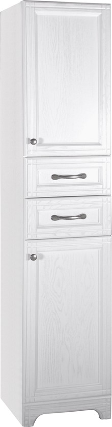 Шкаф-пенал ASB-Woodline Берта 40 белый, патина серебро