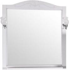 Зеркало ASB-Woodline Салерно 80 со светильниками, белое, патина серебро