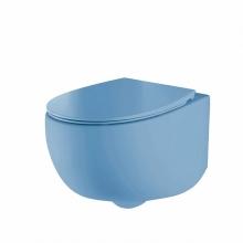 Унитаз подвесной безободковый AeT DOT 2.0 WC голубой матовый S555T0R0V6140 с сиденьем микролифт